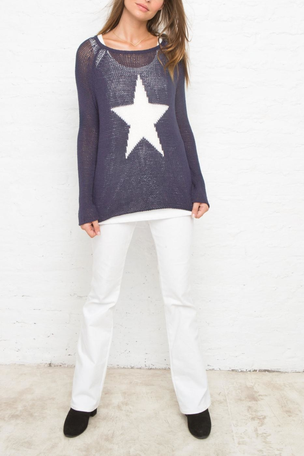 Wooden Ships Star Sweater - Front Cropped Image