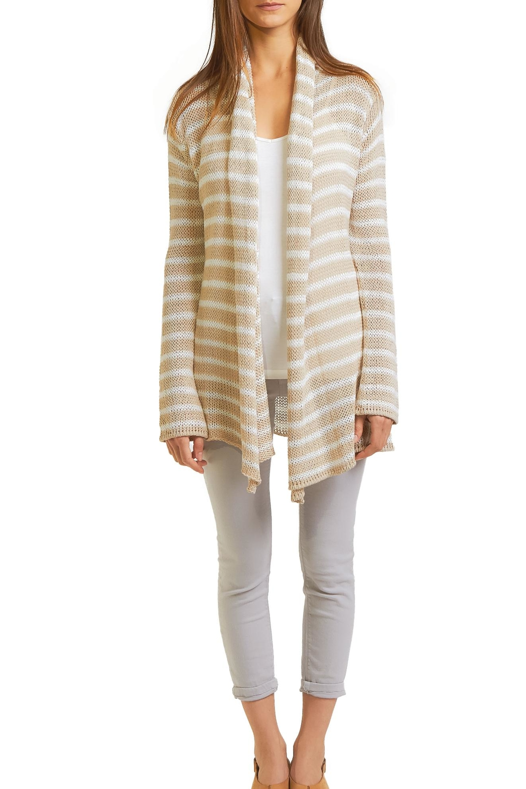 Wooden Ships Stripe Cardigan - Front Cropped Image