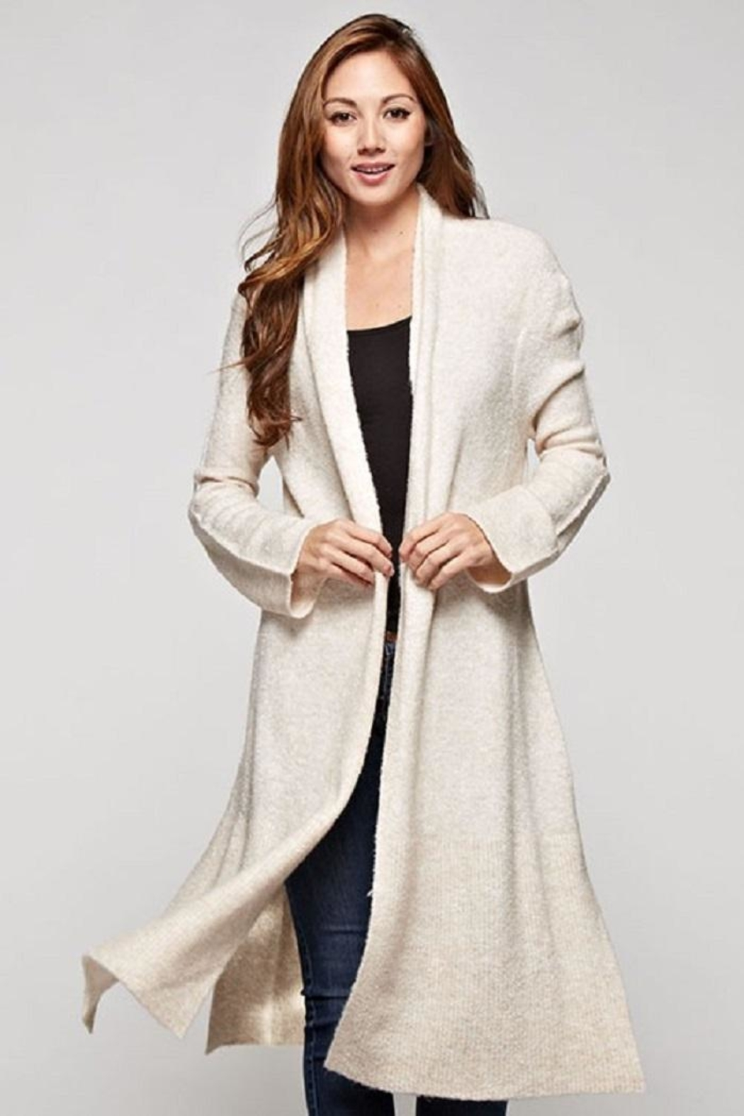 Love Stitch Wool Blend, Long Sleeve Duster - Front Cropped Image