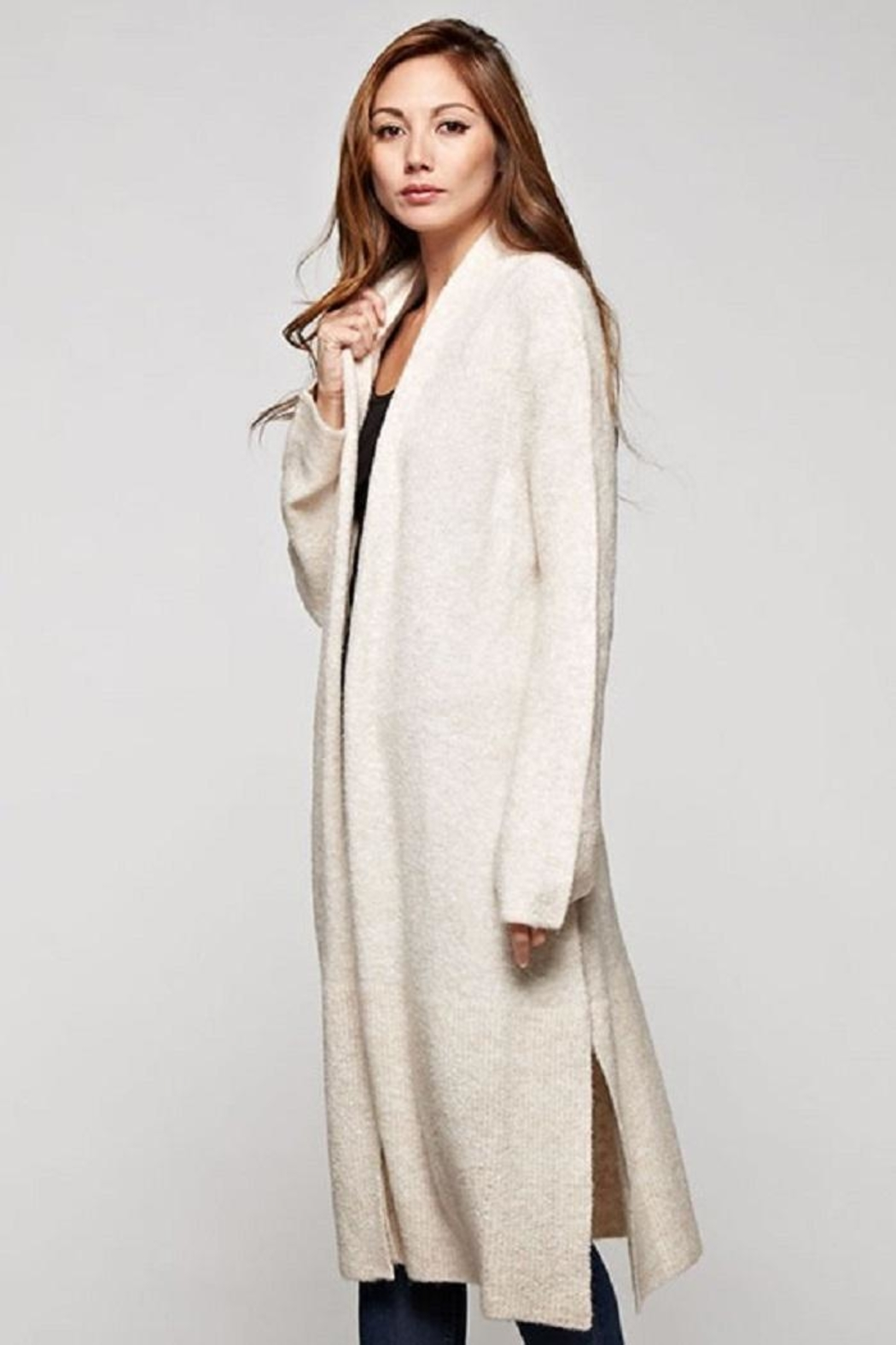 Love Stitch Wool Blend, Long Sleeve Duster - Front Full Image
