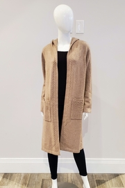 UNWINE Wool & Cashmere Hooded Duster, Putty - Product Mini Image
