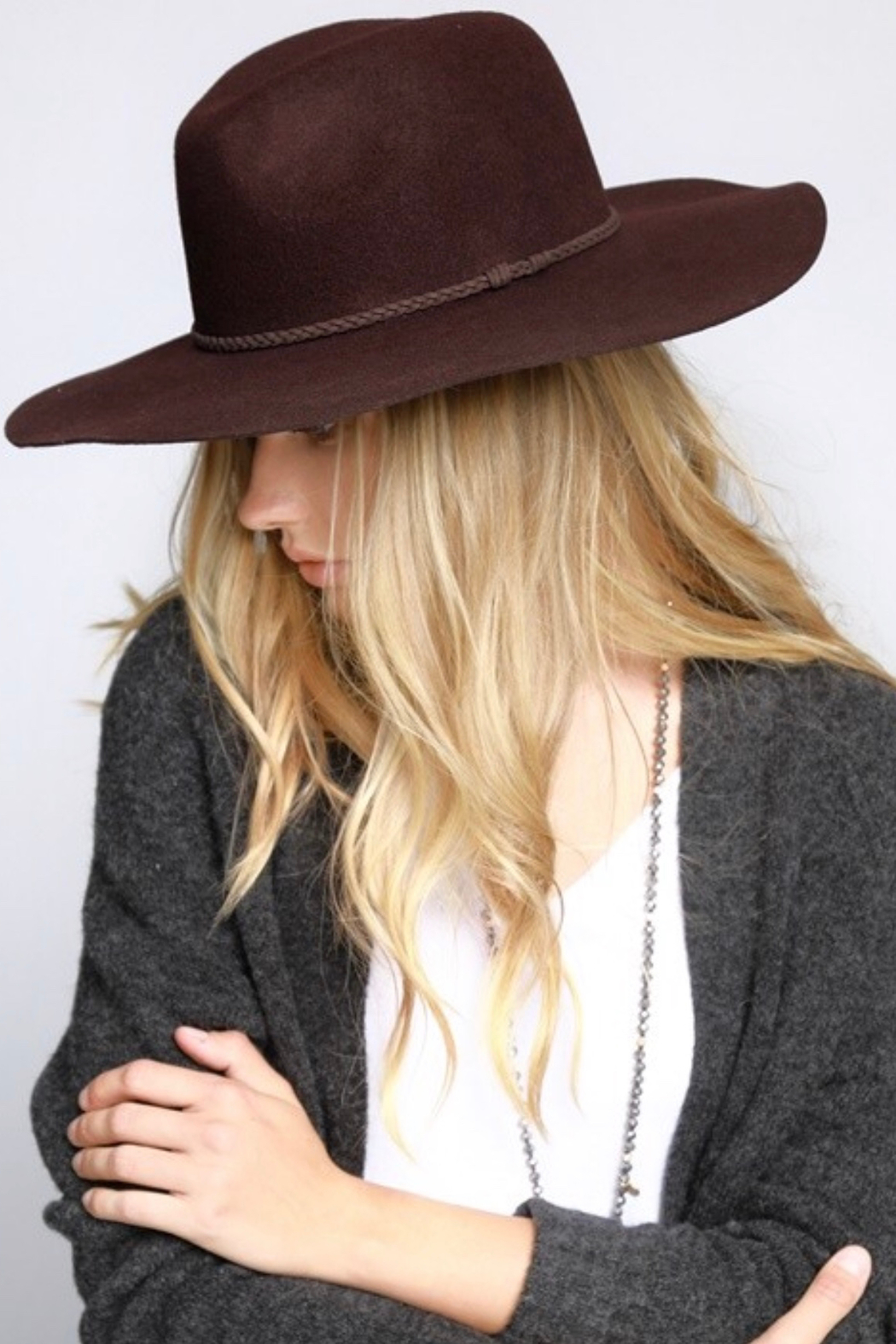 3db66a1ecd3 Urbanista Wool Felt Wide Brim Panama Hat with Suede Braid Ribbon Accent -  Front Full Image