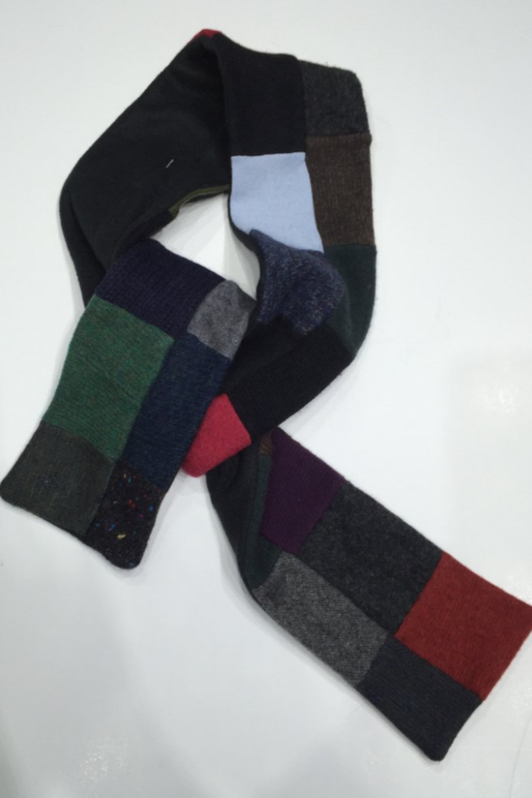 Woolies Wool handcrafted luxurious scarf made from reclaimed sweaters, felt lined - Main Image
