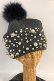 Mitchies Matching Wool Hat/Pearls/Fox Pom - Front full body