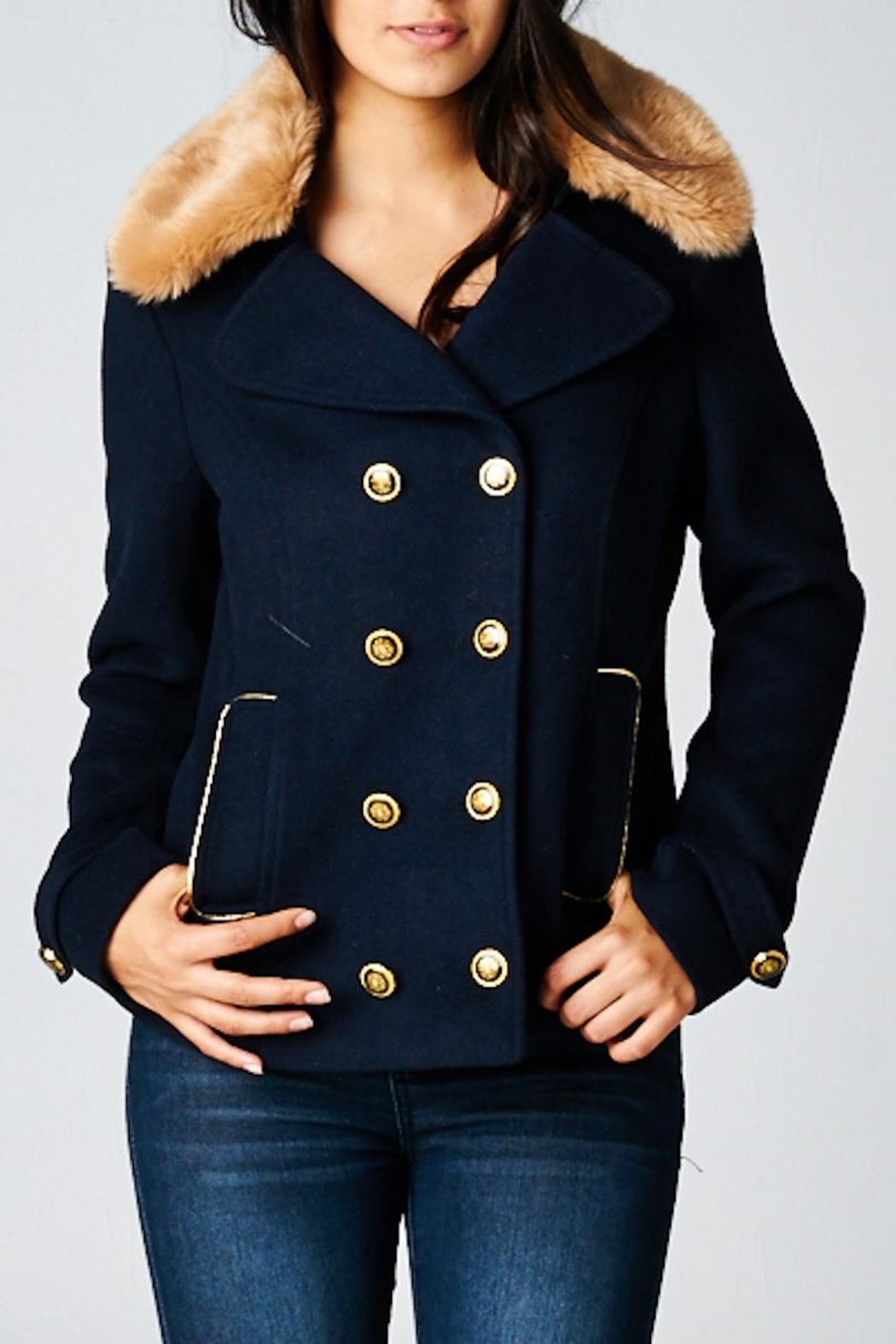 Lovestitch Wool Pea Jacket - Front Cropped Image