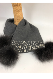 Mitchies Matching Wool Scarf/Pearls/Fox Poms - Front full body