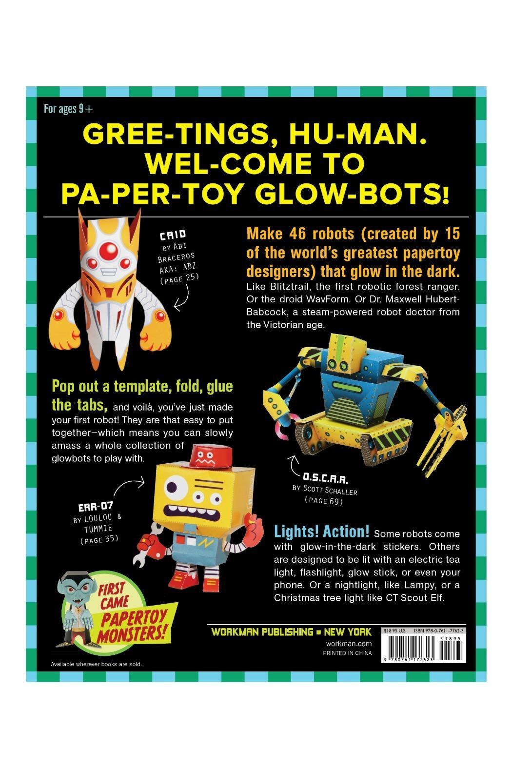 Workman Publishing Papertoy Glowbots - Front Full Image