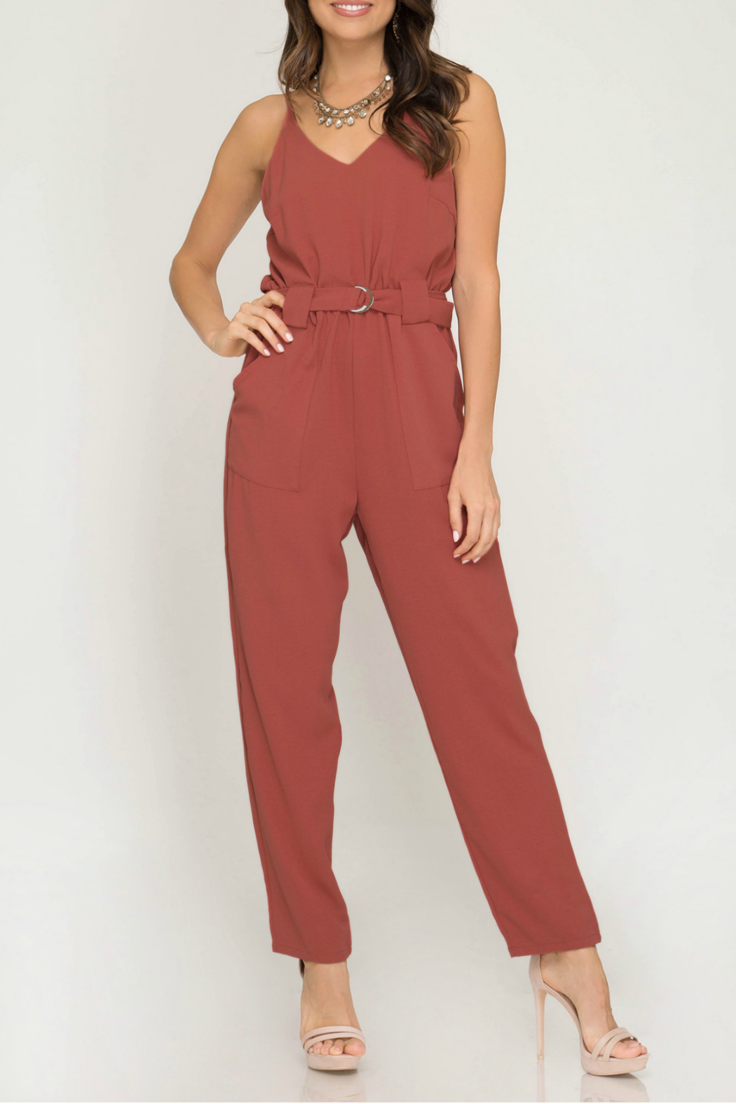 She + Sky Woven cami jumpsuit with pockets and  ring waist belt - Main Image