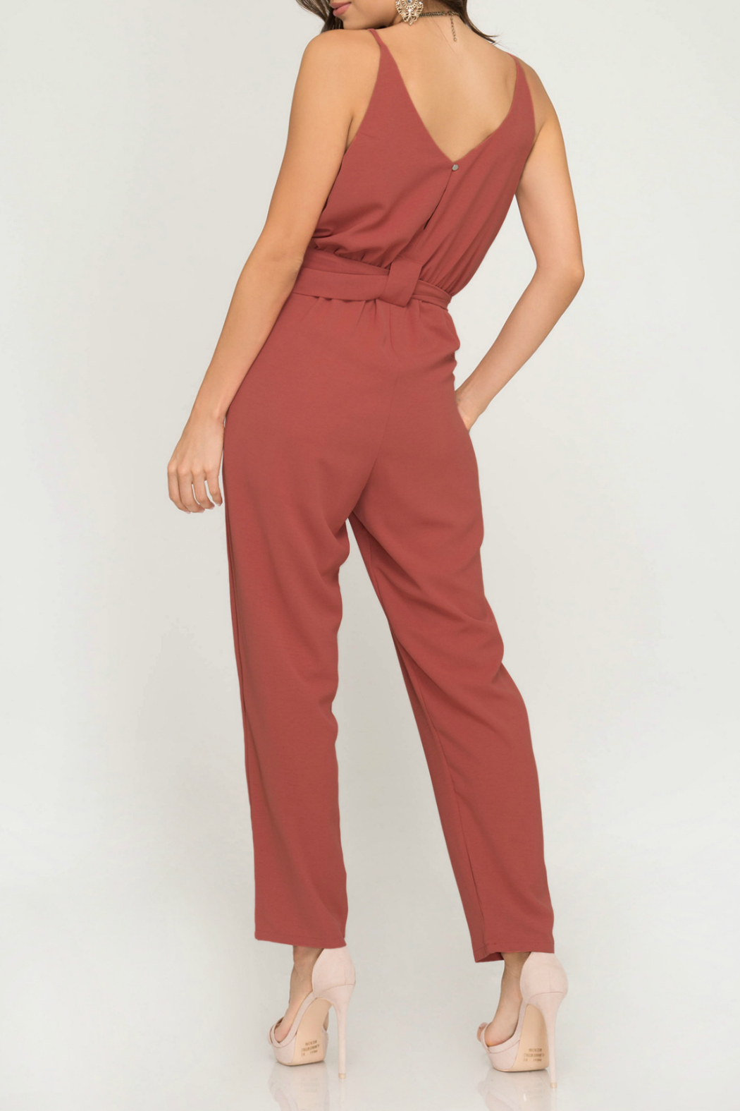 She + Sky Woven cami jumpsuit with pockets and  ring waist belt - Front Full Image