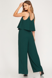 She and Sky Woven Cami Ruffled Overlay Jumpsuit - Front full body