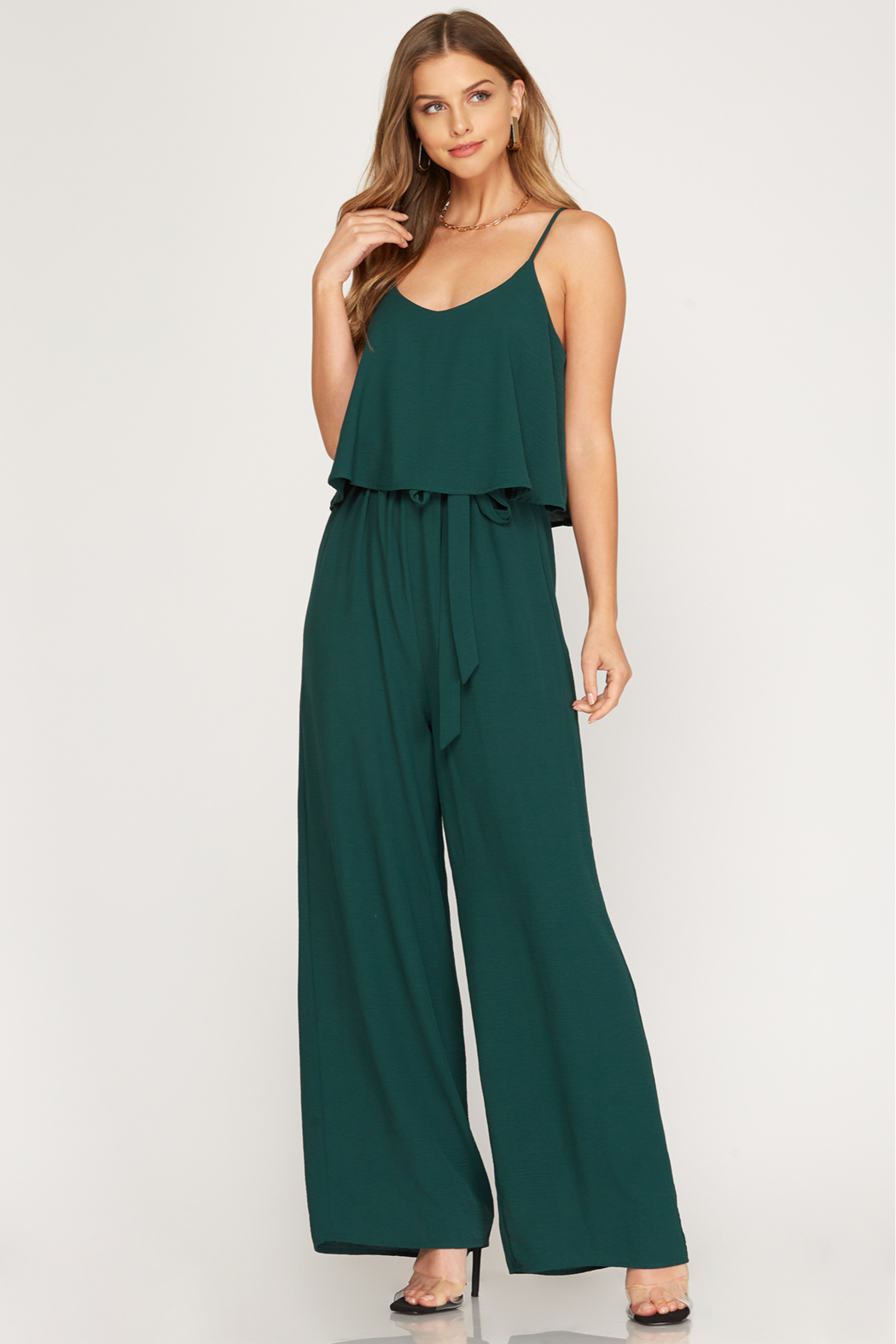 She and Sky Woven Cami Ruffled Overlay Jumpsuit - Front Cropped Image