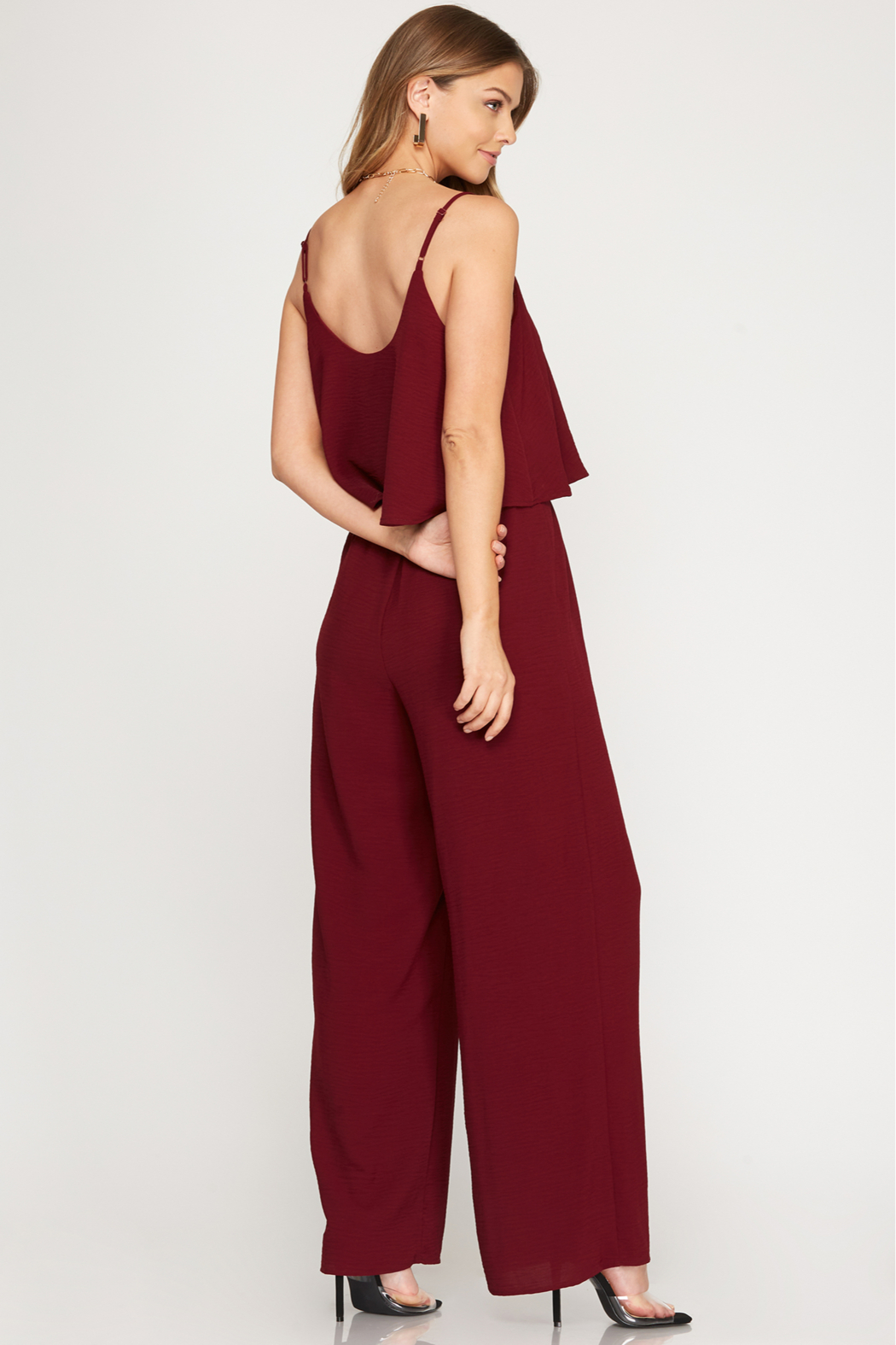 She and Sky Woven Cami Ruffled Overlay Jumpsuit - Front Full Image