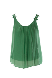 M made in Italy Woven Cami w/ Flower Strap - Product Mini Image