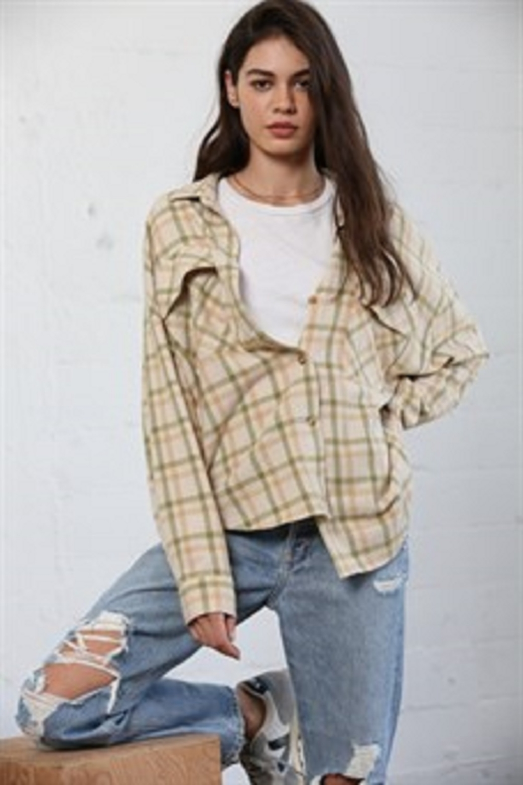 By Together  Woven Checkered Oversized Shirt - Main Image