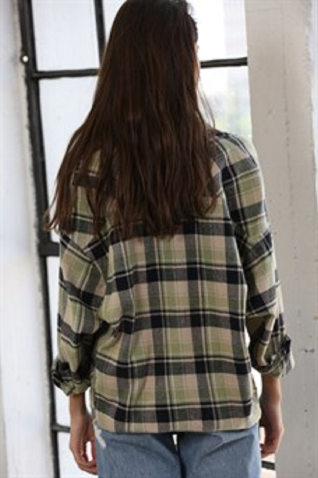By Together  Woven Checkered Oversized Shirt - Side Cropped Image