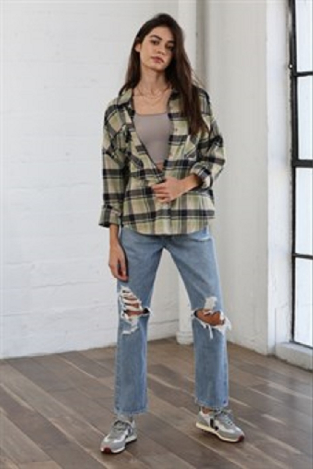 By Together  Woven Checkered Oversized Shirt - Front Full Image