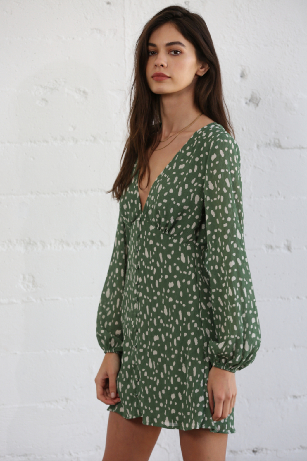 By Together Woven Chiffon V-Neck Dress - Side Cropped Image