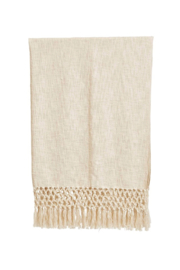 Creative Co-Op Woven Cotton Throw w/ Crochet & Fringe - Product Mini Image