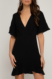 She + Sky Woven dress with ruffled hem - Front cropped