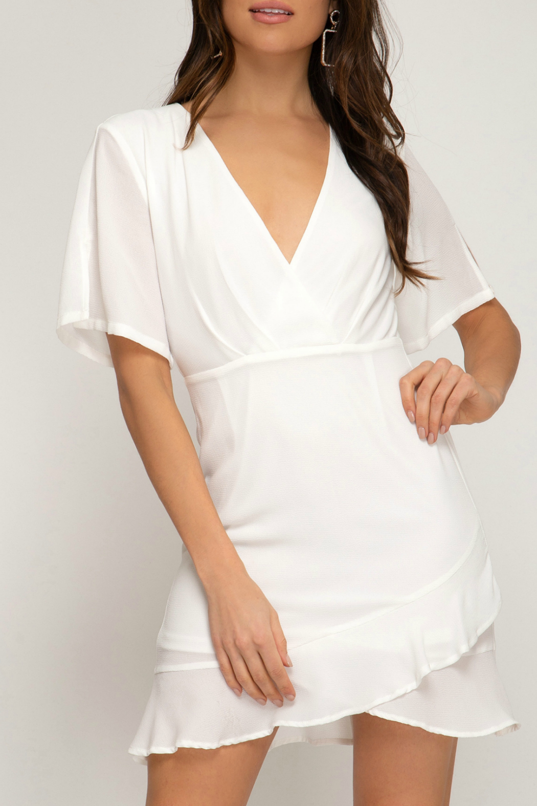 She + Sky Woven dress with ruffled hem - Front Cropped Image