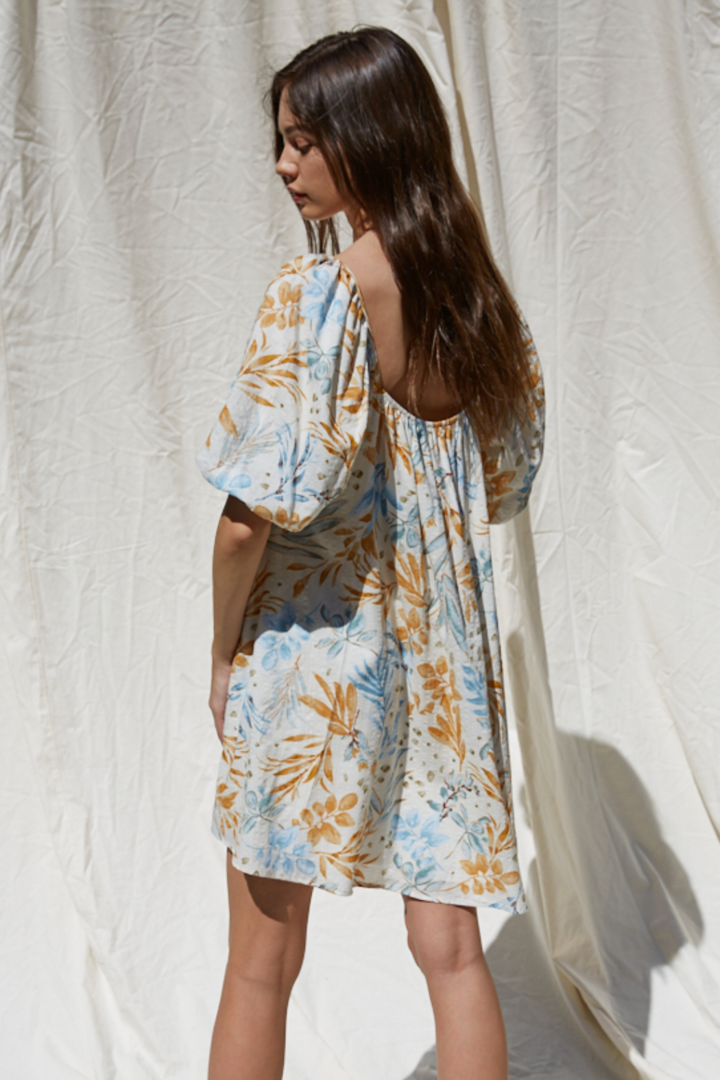 By Together Woven Gauze Printed Dress - Side Cropped Image