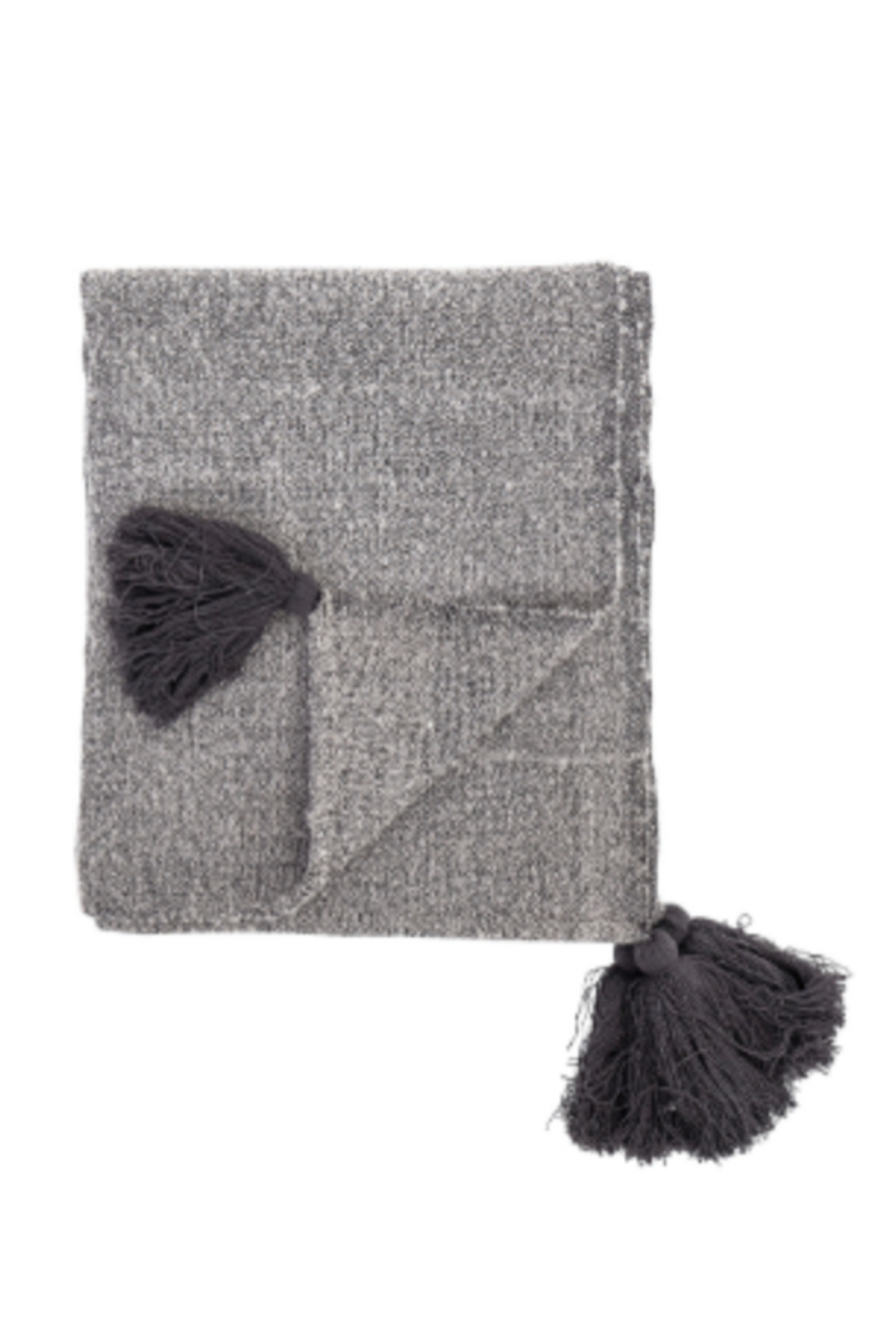 Bloomingville Woven Grey Throw Blanket With Tassels - Main Image