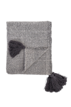 Shoptiques Product: Woven Grey Throw Blanket With Tassels
