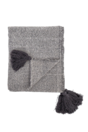 Bloomingville Woven Grey Throw Blanket With Tassels - Front cropped