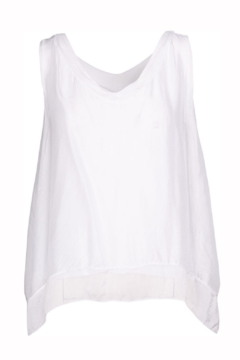 M made in Italy Woven Layered V Neck Tank - Product List Image