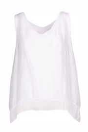 M made in Italy Woven Layered V Neck Tank - Product Mini Image