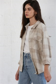 By Together  Woven Long Sleeve Checkered Shirt - Front cropped