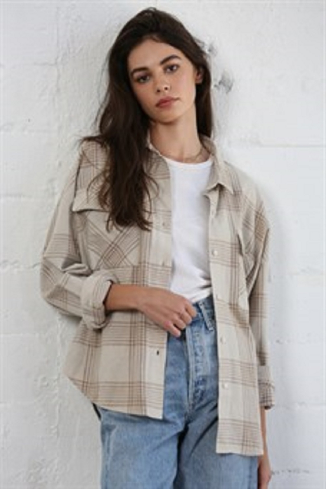 By Together  Woven Long Sleeve Checkered Shirt - Front Full Image