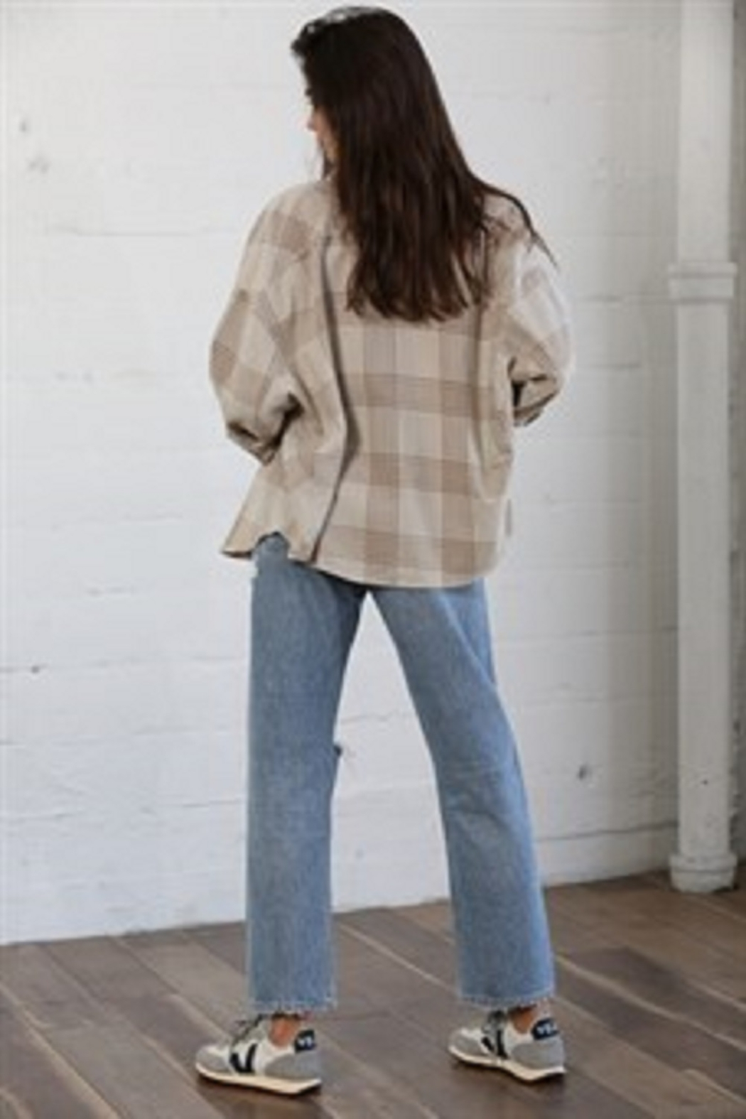 By Together  Woven Long Sleeve Checkered Shirt - Side Cropped Image