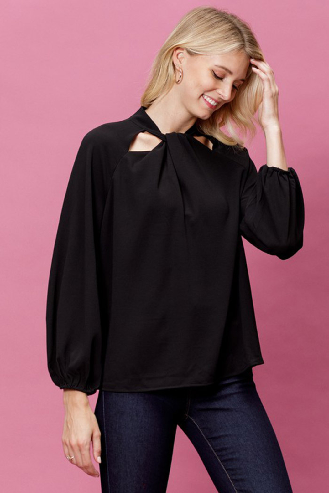 Mittoshop Woven Long Sleeve Top - Back Cropped Image