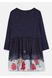 Joules Woven Mix Border Dress - Front full body