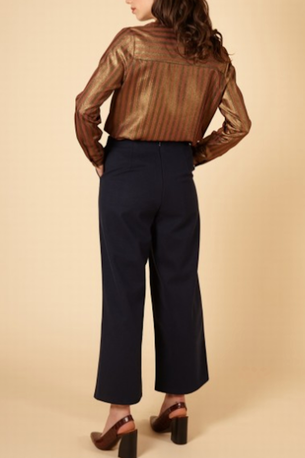 FRNCH Woven Peg Pants - Back Cropped Image