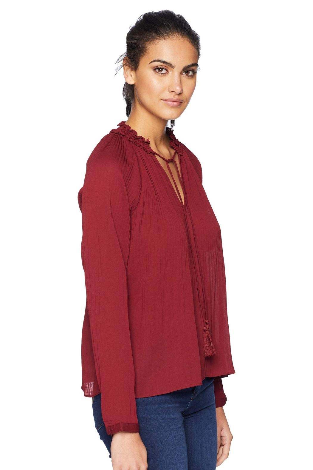 Adelyn Rae Woven Pleated Blouse - Back Cropped Image