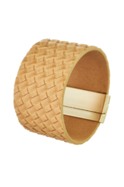 Girly Woven print leather magnetic bracelet - Product Mini Image