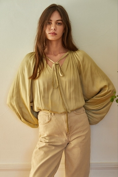 By Together Woven Satin Long Sleeve Blouse - Product List Image