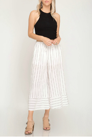 She & Sky  Woven stripe cullote pants - Front cropped