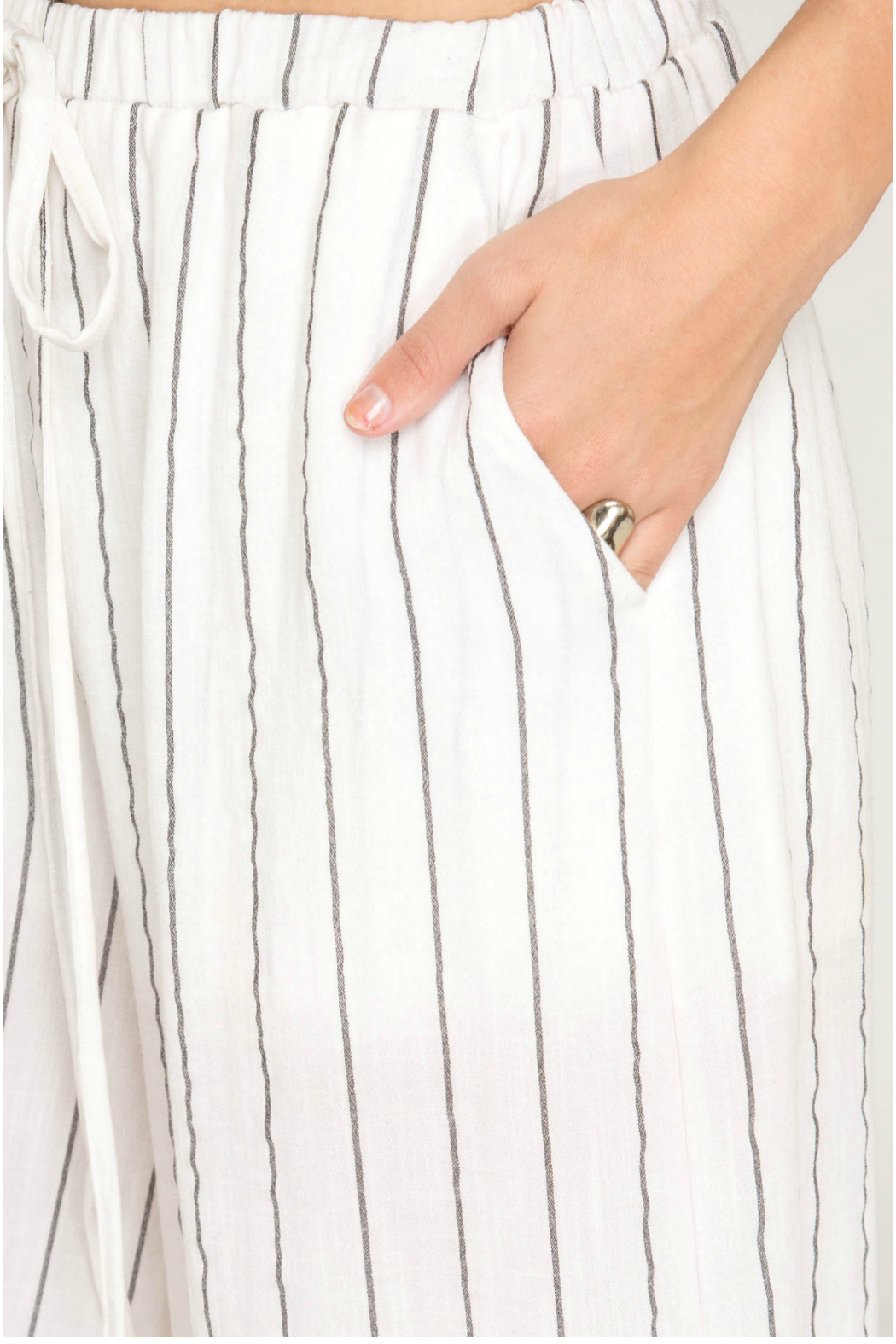 She & Sky  Woven stripe cullote pants - Front Full Image