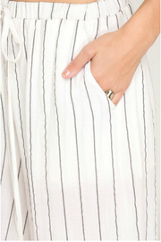 She & Sky  Woven stripe cullote pants - Front full body