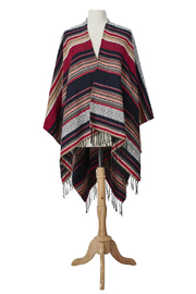 San Diego Hat Company WOVEN STRIPE JACQUARD PONCHO - Front cropped