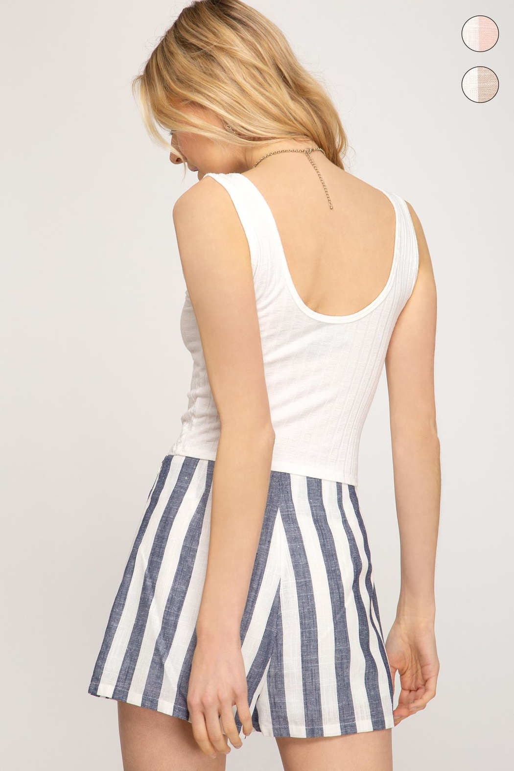 She + Sky Woven Striped Shorts - Side Cropped Image