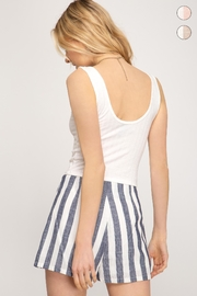 She + Sky Woven Striped Shorts - Side cropped