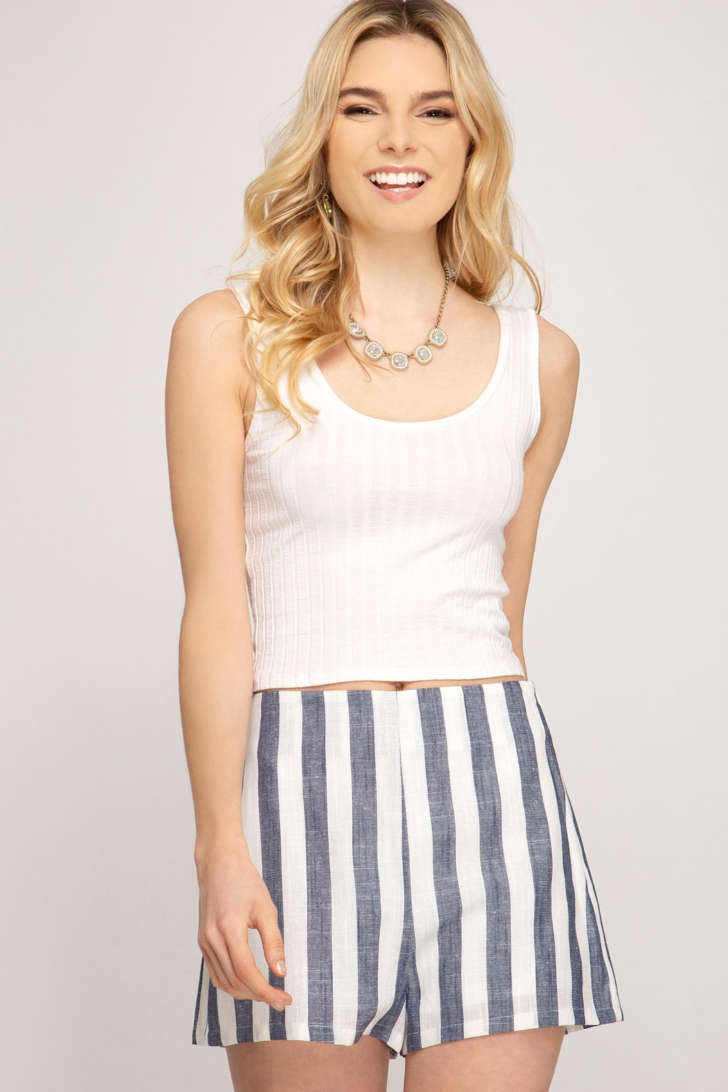 She + Sky Woven Striped Shorts - Front Full Image