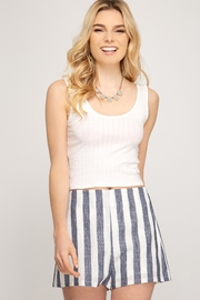She + Sky Woven Striped Shorts - Front full body