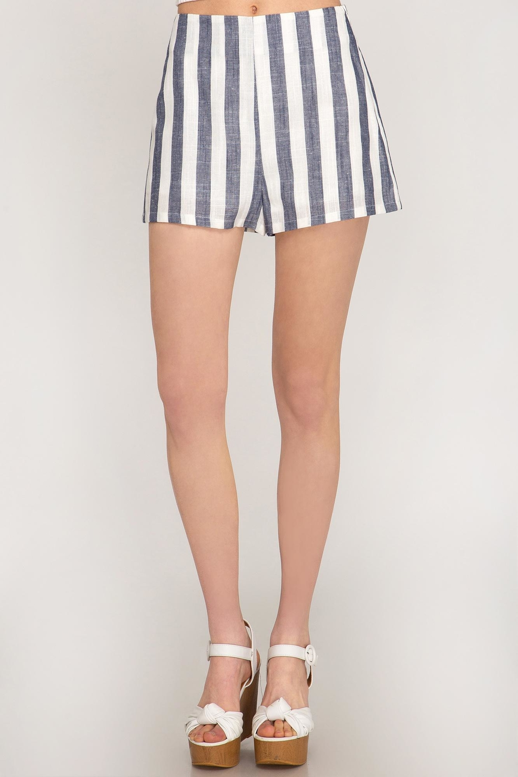 She + Sky Woven Striped Shorts - Front Cropped Image