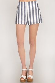 She + Sky Woven Striped Shorts - Front cropped