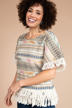 Ivy Jane  Woven Tapestry Horizontal Stripe Top with Fringe - Alternate List Image